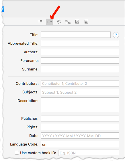 edit the project's metadata in Scrivener's compile dialog