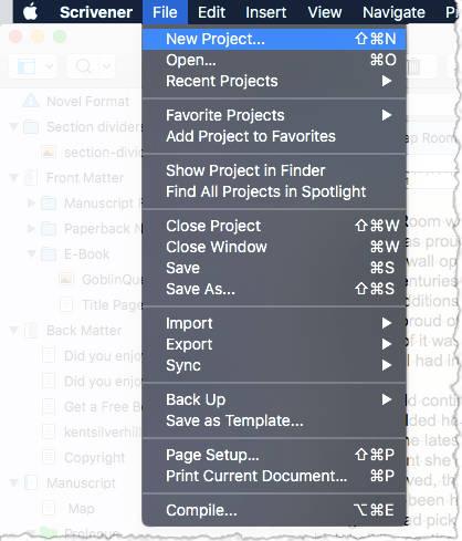 Scrivener file menu - creating a new project