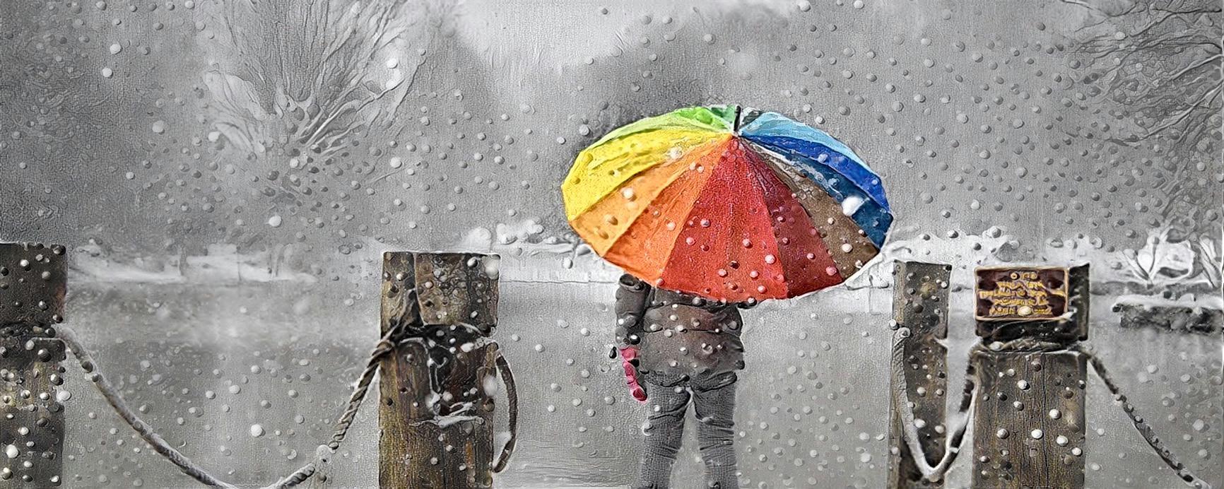 umbrella in snow